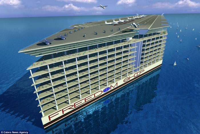 Designed by the Florida-based Freedom Ship International, the floating city, concept pictured, is se