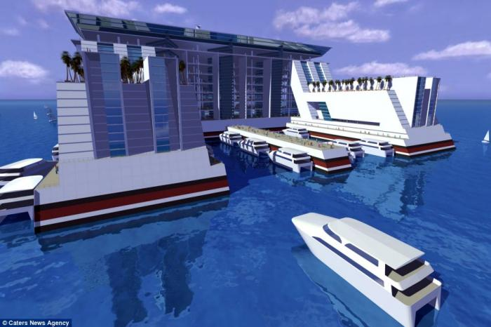Visitors and residents would be able to leave the ship, either by plane or by boat thanks to a dock
