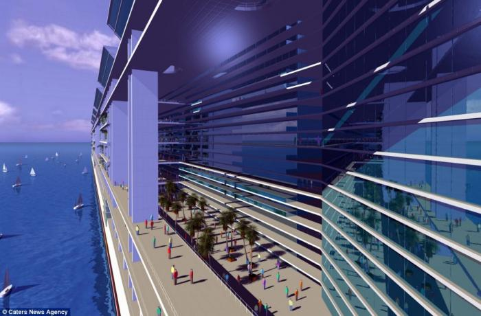 The Freedom Ship, concept pictured, is a mile long, 25 storeys high and features schools, hospitals,