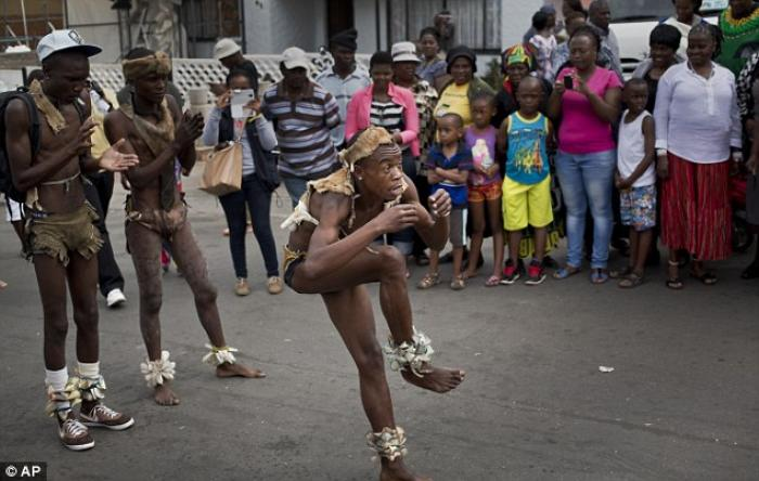 Performance: A troupe of traditional dancers from the Kliptown suburb of Soweto outside Nelson Mande