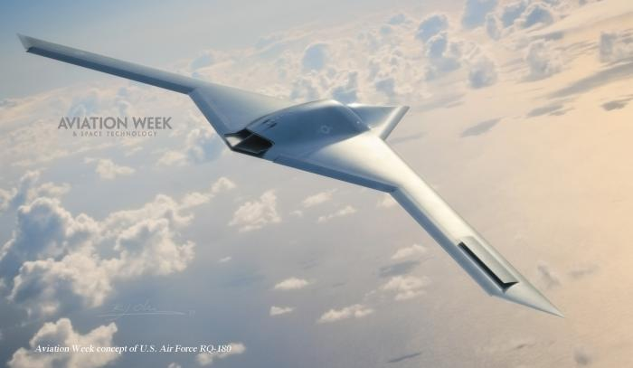 An artistic rendition of the RQ-180 from Aviation Week.