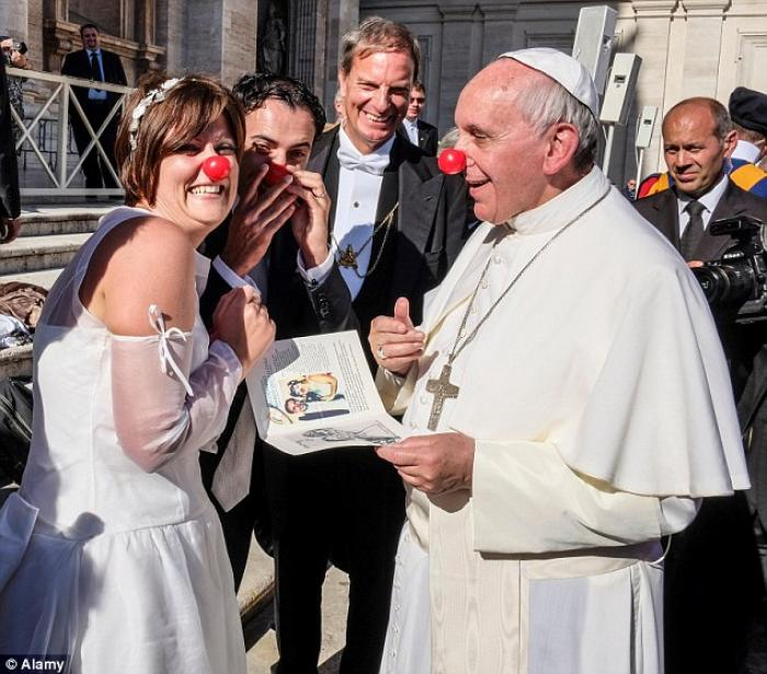 Pope Francis dons a clown