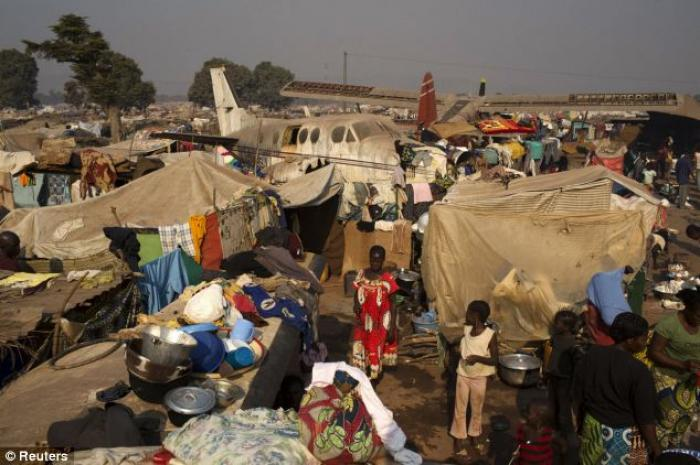 A temporary camp for internally displaced persons (IDPs) at the airport of the capital Bangui.