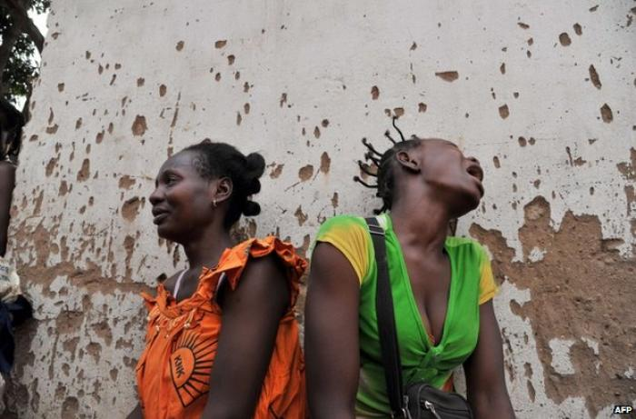 These women were mourning on Sunday for two relatives killed in Bangui.