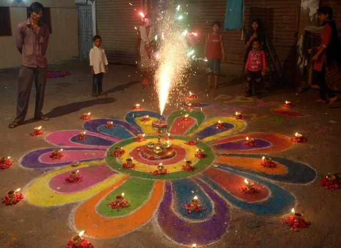 Hindus, of which there are at least 2 million in Pakistan, celebrate Diwali with fireworks in Karach