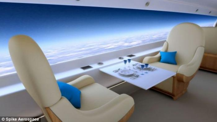 The supersonic jet has a revolutionary windowless passenger cabin. Instead, the interior walls will