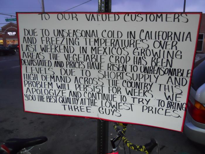 A store posted an apology to customers after a bizarre cold snap in December devastated crops in Cal