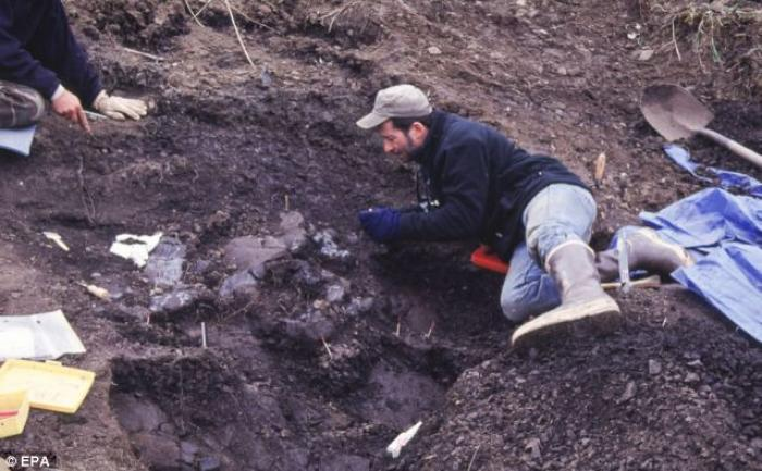 Earth Sciences Curator Tony Fiorillo of the Perot Museum of Nature and Science excavates a site cont