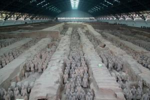 About 8,000 Terracotta Warriors were buried in three pits less than a mile to the northeast of the m