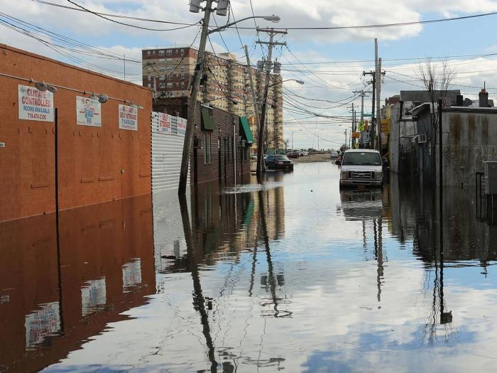 Flood damaged streets in Queens, New York where the historic boardwalk was washed away due to Hurric