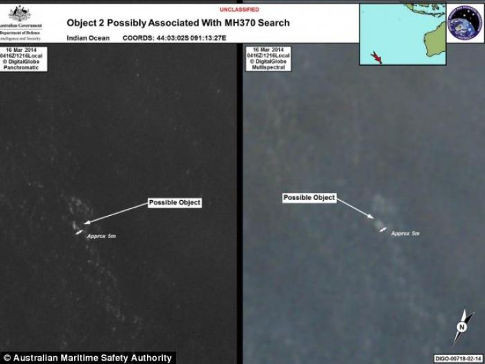 The debris was spotted on satellite imagery and a total of four aircraft have been sent to investiga