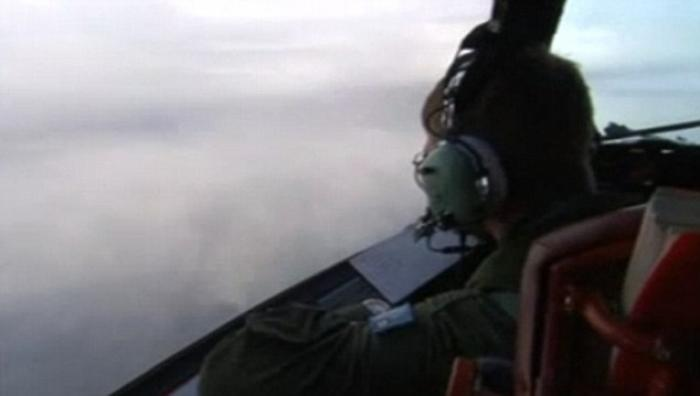 This picture, taken on Thursday morning on board a Royal Australian Air Force Orion plane, shows how