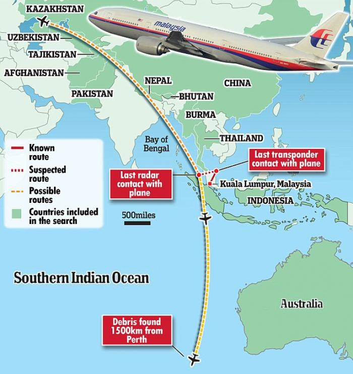 This map shows the possible routes that Beijing-bound MH370 may have taken after it took off from Ku