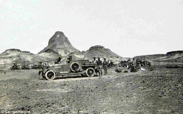 This photograph of an armored Rolls-Royce helped researchers track down a desert camp (pictured) fro
