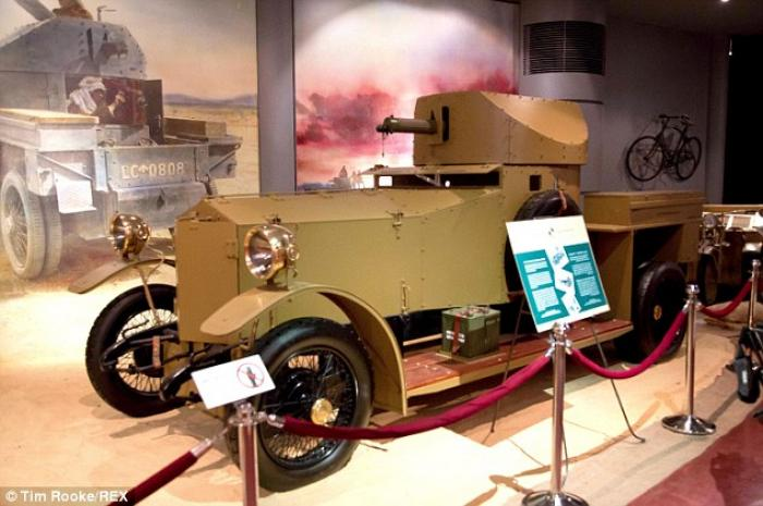British forces had crossed the remote desert in an armored Rolls-Royce, pictured.