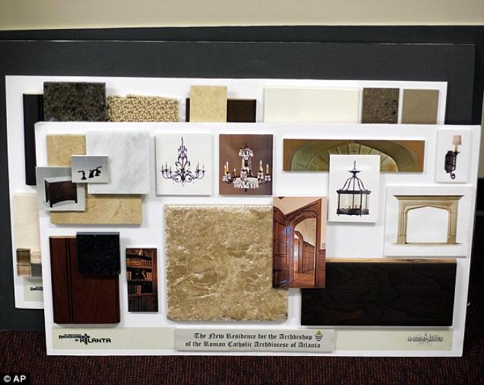 Interior decorating samples for the residence of Atlanta Archbishop Wilton Gregory is seen inside a