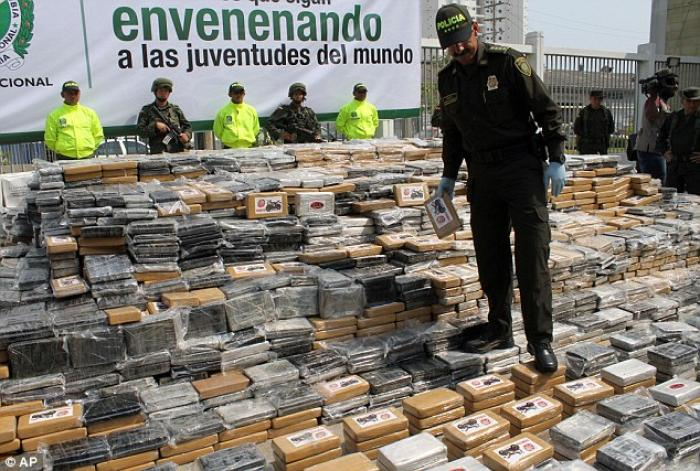 Largest seizure for 9 years: Members of the Colombian National Police present to the media the 7 ton