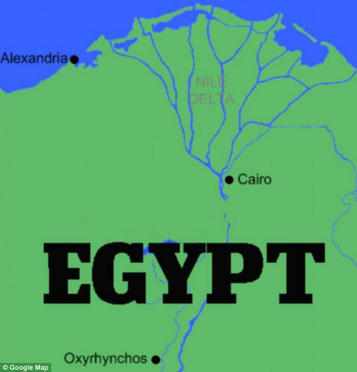 The location of Oxyrhynchus  in Egypt.