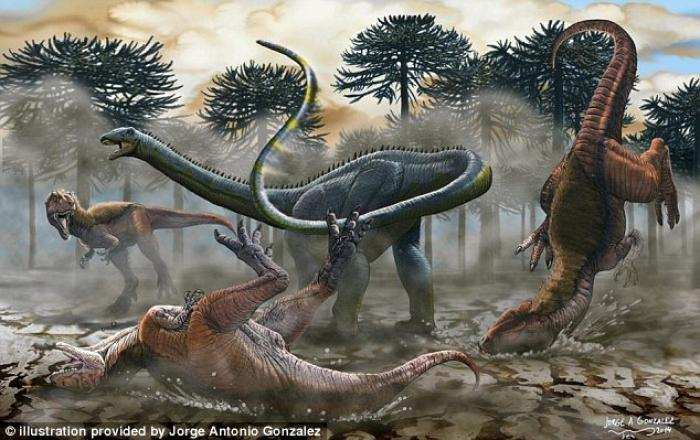 The newly identified South American dinosaur uses its whip-like tail to fend off predators in this 2