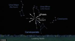The radiant, or place where the shower will appear to emanate, is high in the northern sky.