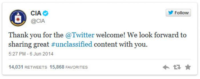 The CIA joined Facebook and Twitter, making a tweet poking fun of itself.