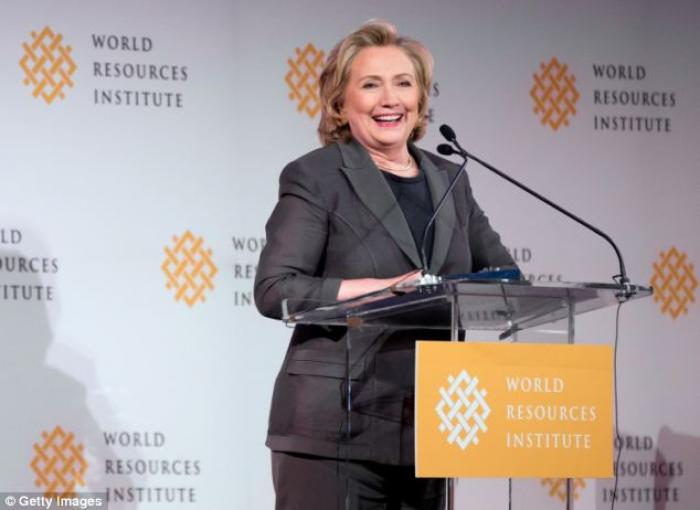 Hillary Clinton speaking today at the World Resource Institute Thursday. She has been in the spotlig