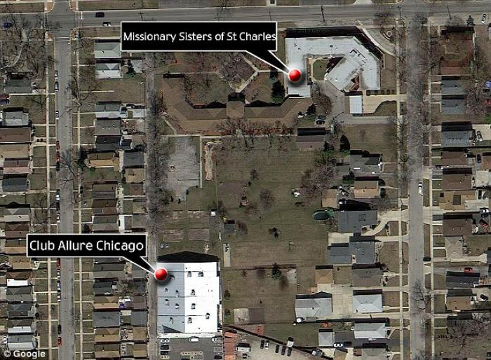 Map showing the location of The Missionary Sisters of St. Charles in relation to Club Allure in Chic