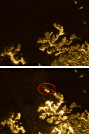 """The top image shows the lake on Titan, while the bottom image shows the mysterious, """"magic island"""" w"""