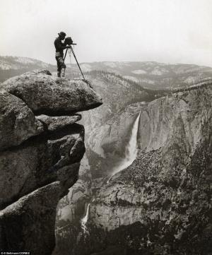 This undated photo shows a precipitous photographer in the Yosemite Valley in California.