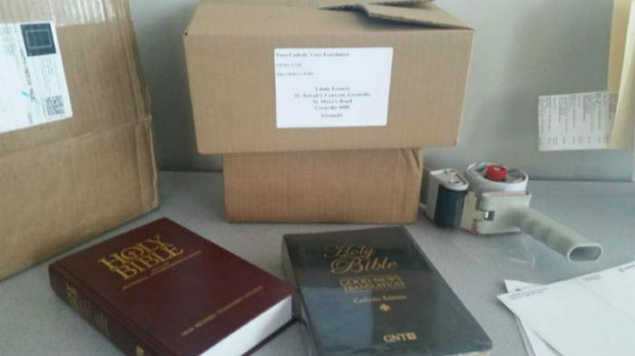 Your Catholic Voice Foundation shipped 350 Bibles to a Catholic school in Grenada last week with int
