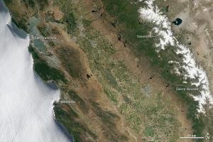 A satellite image of California in July 2011.