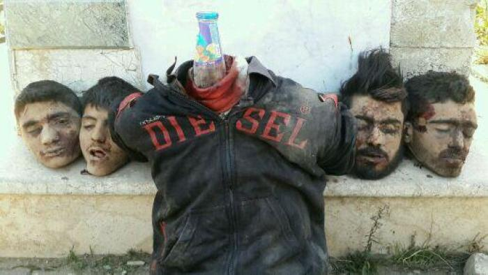 Alawite victims of ISIS, beheaded and arranged as a display for the media and public.