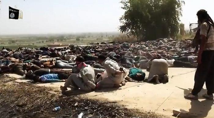 Terrorists finish off the killing of hundreds of men in yet another location, mercilessly shooting t