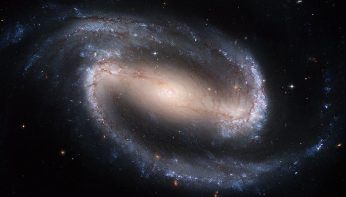 Barred-Spiral galaxy, NGC 1300. The Milky Way is also thought to be a barred-spiral, but the matter