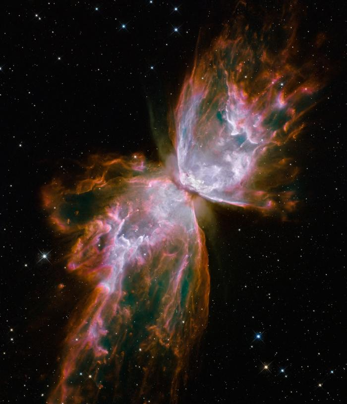 This nebula looks like a butterfly as gasses are blown away from the dying star in the center.