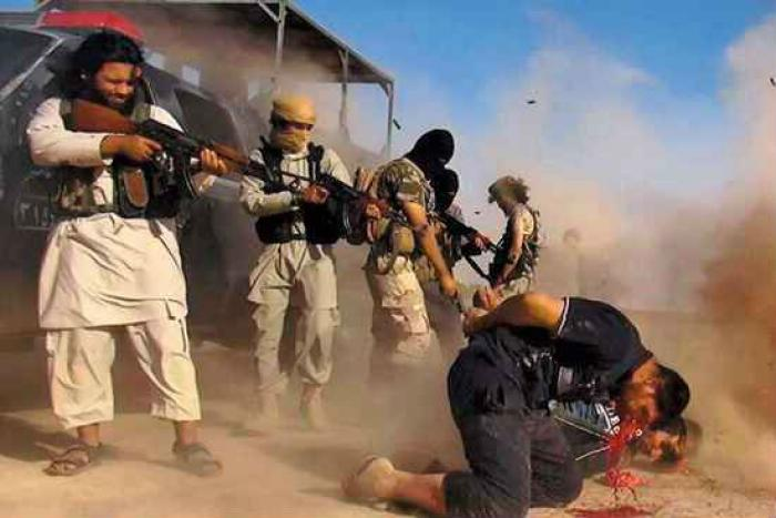 Members of the Islamic State execute opponents of the terrorist state.
