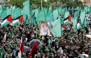 A rally of fighters for the Palestinian terrorist group Hamas. The group has been firing rockets int