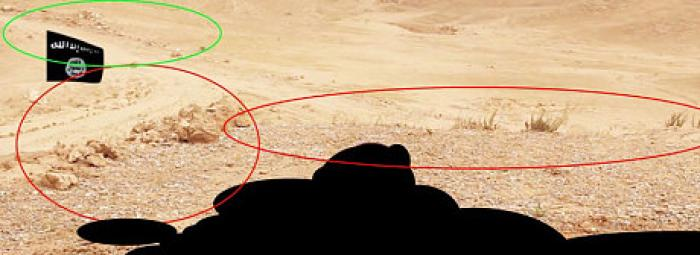 Images used by a British analyst to discover the spot of the murder of American James Foley.