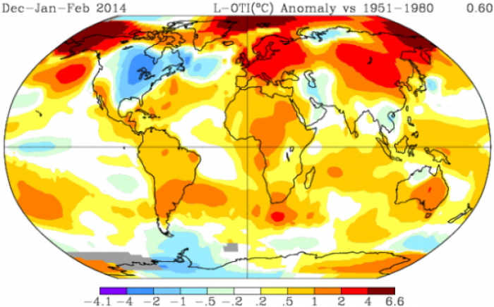 The winter of 2014 was especially warm for most regions, including the western USA and Siberia. Nota