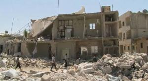 Rubble of a Syrian town that has been destroyed during the ongoing Syrian civil war.