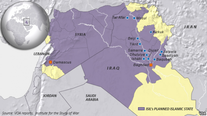 A map showing the extent of territory that the Islamic State currently claims as a Caliphate.