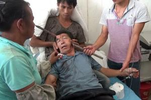 Paramedics were called to treat Mr Ho after a thick metal bar impaled the right side of his forehead