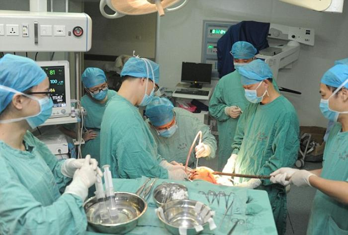 Mr Ho, 50, survived his dramatic injury. Following successful emergency surgery at nearby Leigh Coun
