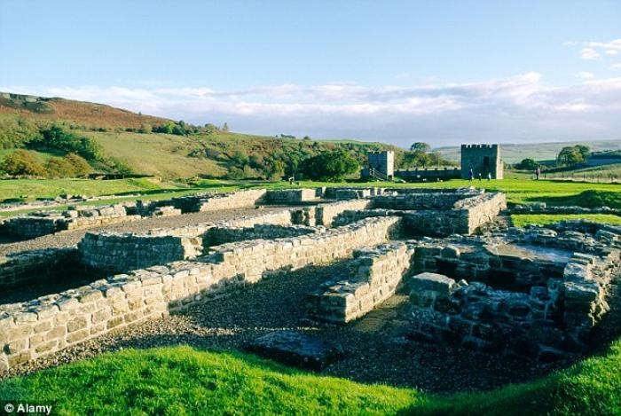 The toilet seat was discovered at Vindolanda fort (pictured) on Hadrian