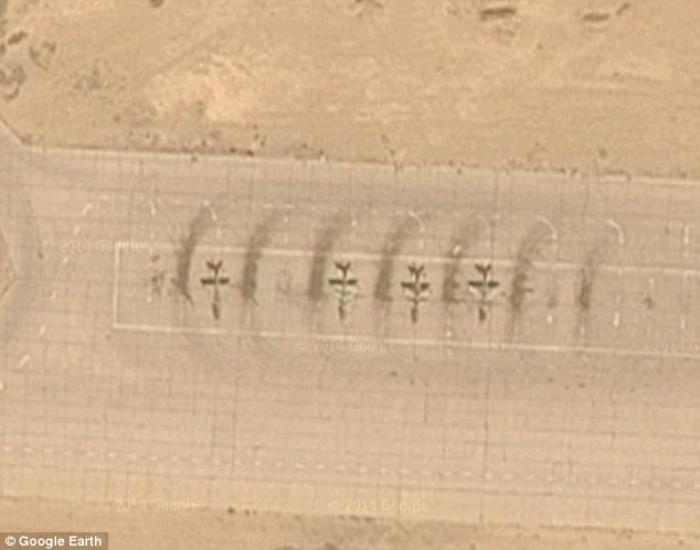 MiG 21 jets can be seen at the airbase on this Google Earth image. They belong to the Islamic State