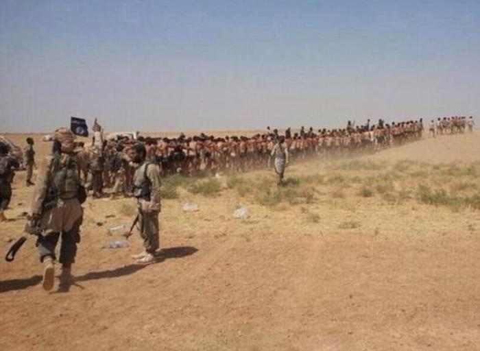 The Islamic State shared another video showing a death march and mass execution of Syrian soldiers c