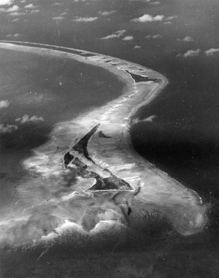 An aerial view of the Tarawa atoll.