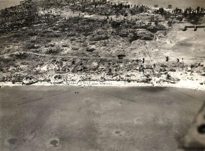 An aerial view of Tarawa during the battle.
