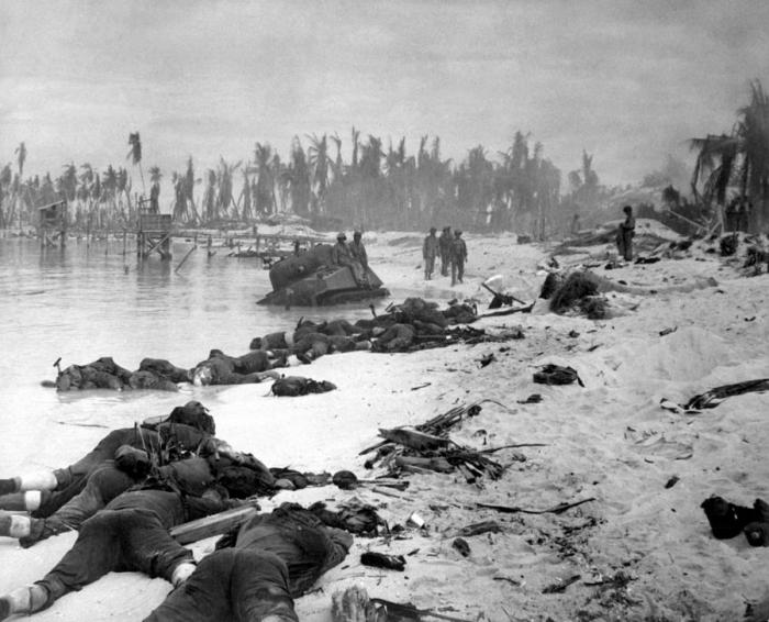 Marine casualties lying on the beach of Tarawa.