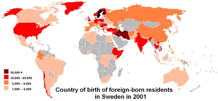 Swedish immigration data with how many immigrants come from which countries.